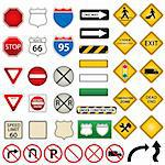 Various road and traffic signs Stock Photo - Royalty-Free, Artist: soleilc                       , Code: 400-04334699