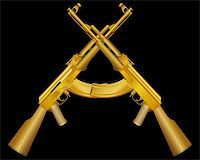 Vector illustration of two gold ak on black Stock Photo - Royalty-Freenull, Code: 400-04335331
