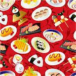 seamless Japanese food pattern Stock Photo - Royalty-Free, Artist: notkoo2008                    , Code: 400-04335421