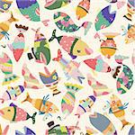 seamless fish pattern Stock Photo - Royalty-Free, Artist: notkoo2008                    , Code: 400-04335439
