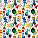 seamless cat pattern Stock Photo - Royalty-Free, Artist: notkoo2008                    , Code: 400-04335449