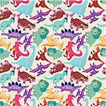 seamless dinosaur pattern Stock Photo - Royalty-Free, Artist: notkoo2008                    , Code: 400-04335450