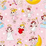 seamless angel pattern Stock Photo - Royalty-Free, Artist: notkoo2008                    , Code: 400-04335536