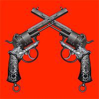 two old guns with ornament on red background Stock Photo - Royalty-Freenull, Code: 400-04335599