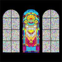 Stained glass church window on black Stock Photo - Royalty-Freenull, Code: 400-04335615