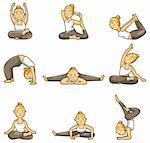 cartoon yoga girl icon Stock Photo - Royalty-Free, Artist: notkoo2008                    , Code: 400-04337089