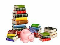 education loan - Piggy bank with cap and books. Objects isolated over white Stock Photo - Royalty-Freenull, Code: 400-04337197