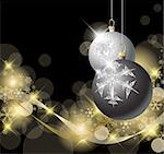 Black and Silver Christmas bulbs with golden snowflakes Stock Photo - Royalty-Free, Artist: orsonsurf                     , Code: 400-04337221