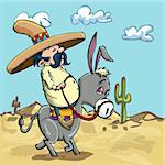 Cartoon Mexican wearing a sombrero riding a donkey in the desert Stock Photo - Royalty-Free, Artist: antonbrand                    , Code: 400-04337355
