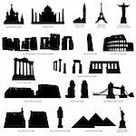 High Detail landmarks silhouette set with description of title and place. Vector illustration. Stock Photo - Royalty-Free, Artist: angelp                        , Code: 400-04337381