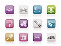 sports scooters - sports equipment and objects icons - vector icon set 2 Stock Photo - Royalty-Freenull, Code: 400-04337865