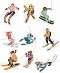 cartoon ski people icon