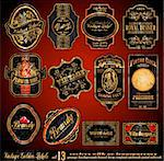Vintage Labels - 16 Black and Gold Elements with distressed Antique look - Set 13 Stock Photo - Royalty-Free, Artist: DavidArts                     , Code: 400-04338663
