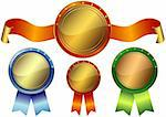 Set gold, silver and bronze awards on a white background (vector EPS10) Stock Photo - Royalty-Free, Artist: OlgaDrozd                     , Code: 400-04339087