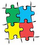 render of jigsaw puzzle pieces in 4 colors Stock Photo - Royalty-Free, Artist: GekaSkr                       , Code: 400-04339206