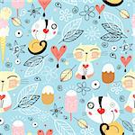 seamless bright pattern of cat hearts and ice cream among the leaves on a blue background Stock Photo - Royalty-Free, Artist: tanor                         , Code: 400-04339527