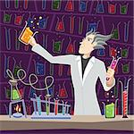 Illustration of a scientist making chemical experiments.