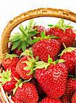 Ripe strawberry in wicker basketbasket isolated on a white background Stock Photo - Royalty-Free, Artist: fotostok_pdv                  , Code: 400-04340445