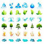 illustration of different element of nature on isolated background Stock Photo - Royalty-Free, Artist: vectomart                     , Code: 400-04340718