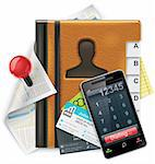 Extra large notepad icon representing address book features and possibilities Stock Photo - Royalty-Free, Artist: tele52                        , Code: 400-04341474
