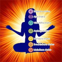 Woman in lotus position with the seven chakras. EPS 8 vector file included Stock Photo - Royalty-Freenull, Code: 400-04342354