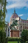 Hungarian Parliament and The Statue of Ferenc II Rakoczi, Budapest, Hungary Stock Photo - Royalty-Free, Artist: maryo990                      , Code: 400-04342519