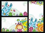 Set of Easter banners series 1. Flora and Fauna compositions, curly plants, painted Easter eggs, cute blue bunny, little girl, little chicken and colorful flowers