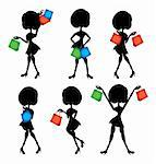 shopping woman silhouettes set Stock Photo - Royalty-Free, Artist: Logo                          , Code: 400-04342789