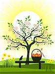 vector flowering tree, daffodils and easter eggs in basket on bench, Adobe Illustrator 8 format Stock Photo - Royalty-Free, Artist: beta757                       , Code: 400-04343306