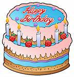 Birthday cake with strawberries - vector illustration. Stock Photo - Royalty-Free, Artist: clairev                       , Code: 400-04343805