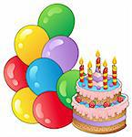 Birthday theme with cake 1 - vector illustration. Stock Photo - Royalty-Free, Artist: clairev                       , Code: 400-04343806