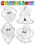 Coloring book with clown images - vector illustration.