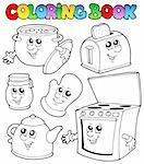 Coloring book with kitchen cartoons - vector illustration. Stock Photo - Royalty-Free, Artist: clairev                       , Code: 400-04343835