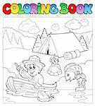 Coloring book with scout in boat - vector illustration. Stock Photo - Royalty-Free, Artist: clairev                       , Code: 400-04343836