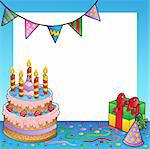 Frame with birthday theme 1 - vector illustration. Stock Photo - Royalty-Free, Artist: clairev                       , Code: 400-04343848