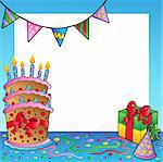 Frame with birthday theme 2 - vector illustration. Stock Photo - Royalty-Free, Artist: clairev                       , Code: 400-04343849