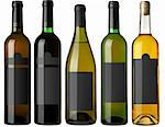 Set 5 bottles of wine with black labels isolated on white background. More - in my portfolio Stock Photo - Royalty-Free, Artist: krasyuk                       , Code: 400-04344059