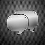 Metallic speech bubble icon. vector illustration Stock Photo - Royalty-Free, Artist: Diddle                        , Code: 400-04344383