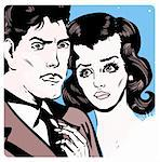 Man and woman love couple tag in popart comic book style Stock Photo - Royalty-Free, Artist: icons                         , Code: 400-04344725