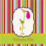 welcome baby card with stork Stock Photo - Royalty-Free, Artist: balasoiu                      , Code: 400-04344756