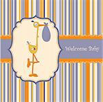 welcome baby card with stork Stock Photo - Royalty-Free, Artist: balasoiu                      , Code: 400-04344764