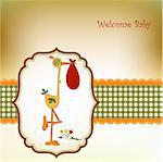 welcome baby card with stork Stock Photo - Royalty-Free, Artist: balasoiu                      , Code: 400-04344765