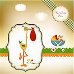 welcome baby card with stork Stock Photo - Royalty-Free, Artist: balasoiu                      , Code: 400-04344766