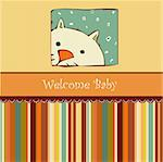 Birth card announcement with cat Stock Photo - Royalty-Free, Artist: balasoiu                      , Code: 400-04344793