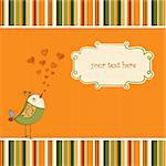 cute love card with bird Stock Photo - Royalty-Free, Artist: balasoiu                      , Code: 400-04345135