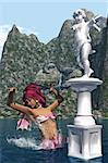 a mermaid dancing around a statue of an angel Stock Photo - Royalty-Free, Artist: s.gatterwe                    , Code: 400-04345194