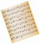 Sheet music on gold color paper