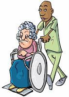 Cartoon of a black orderly pushing an old lady in a wheelchair Stock Photo - Royalty-Freenull, Code: 400-04346063