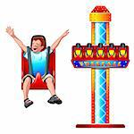 Launched free fall attraction and happy falling boy Stock Photo - Royalty-Free, Artist: sahua                         , Code: 400-04346911