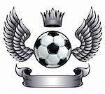 Winged soccer ball emblem with crown and ribbon. Metallic color. Stock Photo - Royalty-Free, Artist: Sylverarts                    , Code: 400-04347033